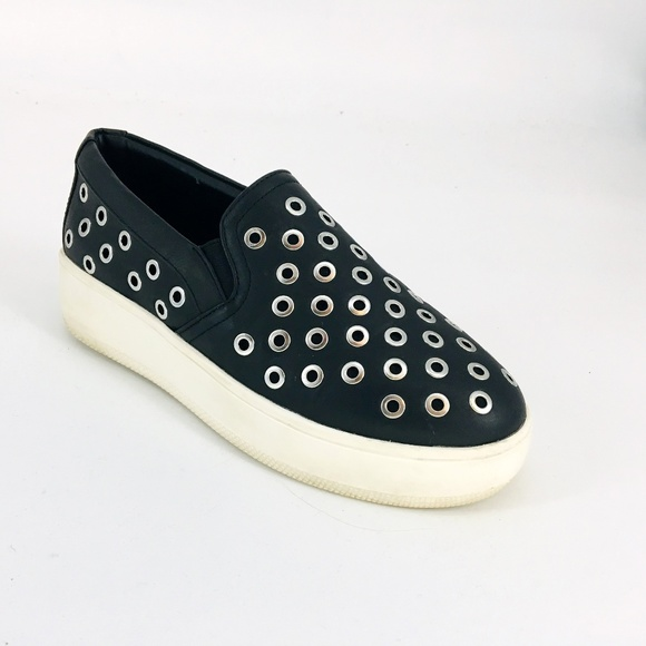 4255f9e7c12 Steve Madden Belit Faux Leather Grommet Slip Ons